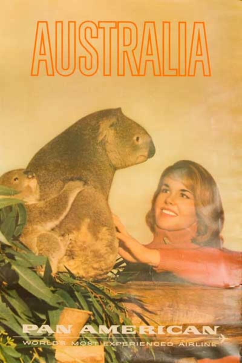 Pan Am Australia Original Travel Poster Woman with Koala photo