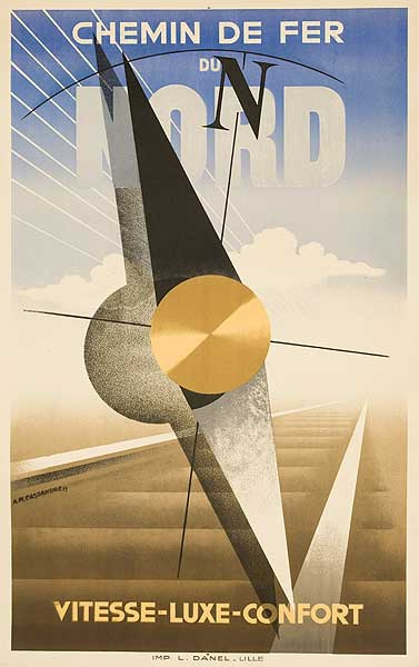 Chemin de Fer du Nord Compass Original French Travel Poster