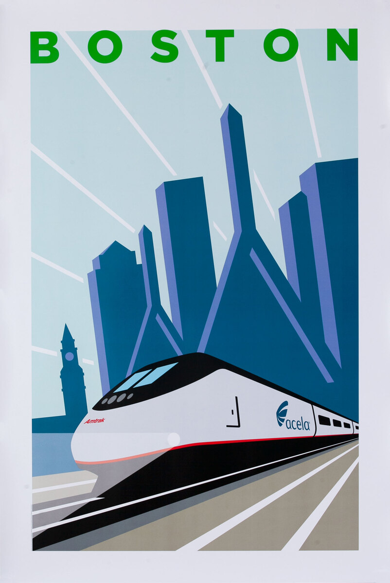 Amtrak Acela Original Travel Poster Boston