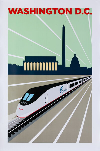Amtrak Acela Original Travel Poster Washington DC