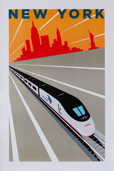 Amtrak Acela Original Travel Poster New York City