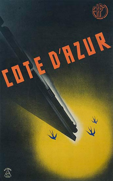 PLM Cote d'Azur Original Travel Poster
