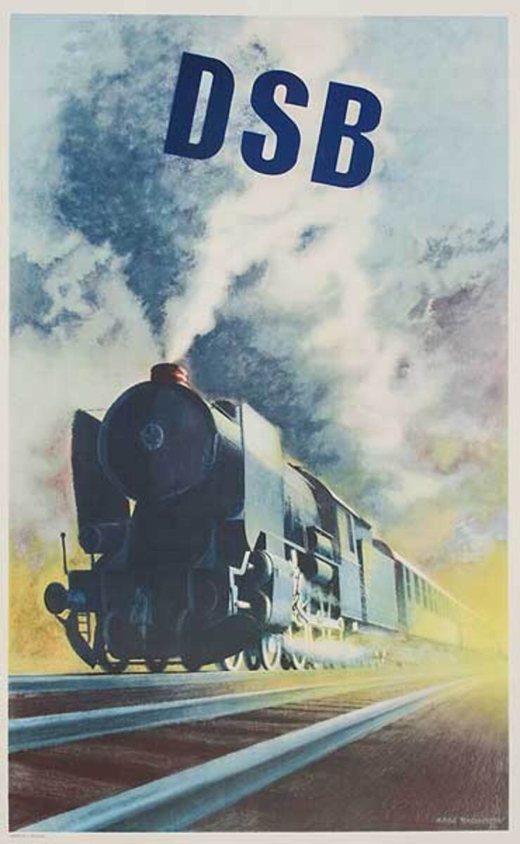 DSB Original Danish Railroad Advertising Poster