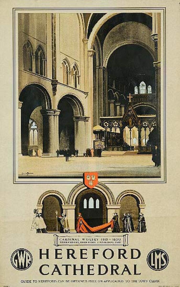 Hereford Cathedral GWR Great Western Rail Original British Travel Poster
