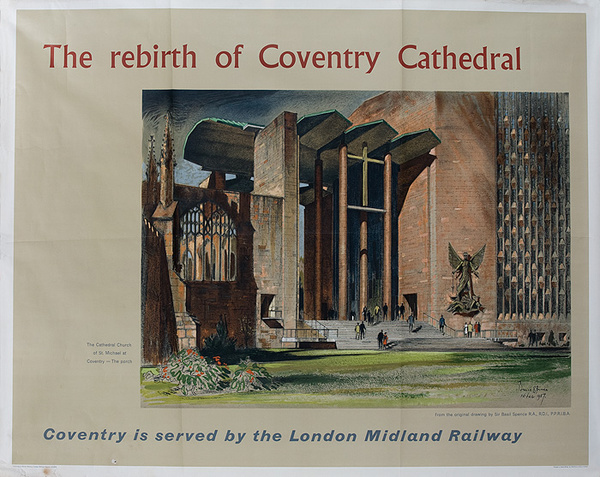 London Midland Railroad Coventry Cathedral Travel Poster