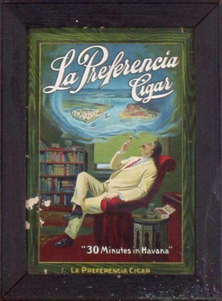 Original Vintage Preferencia Cigar Advertising Poster 30 Minutes in Havana