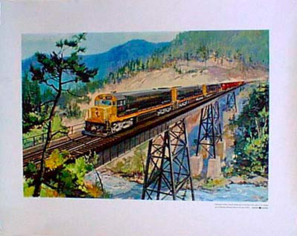 Northern Pacific Original Vintage Travel Poster GE Engines