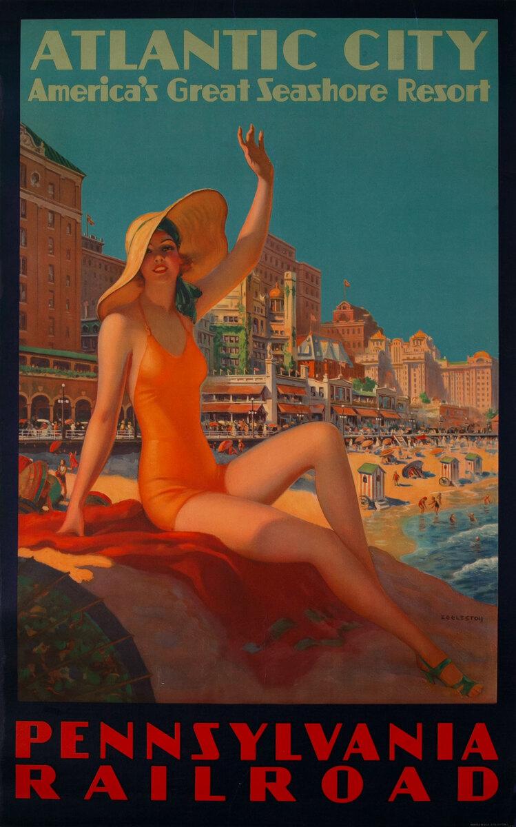 Pennsylvania Railroad Atlantic City America's Great Seashore Resort Original Travel Poster