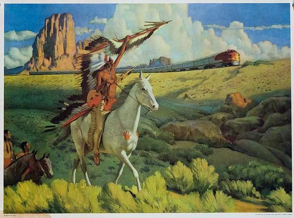 A Meeting of The Chiefs Original Original Santa Fe Railroad Advertsing Poster