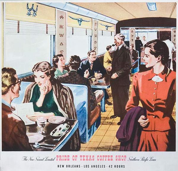 Southern Pacific Railroad Original Vintage Travel Poster Pride of Texas