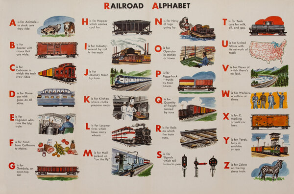School Educational Original Vintage Poster Railroad Alphabet