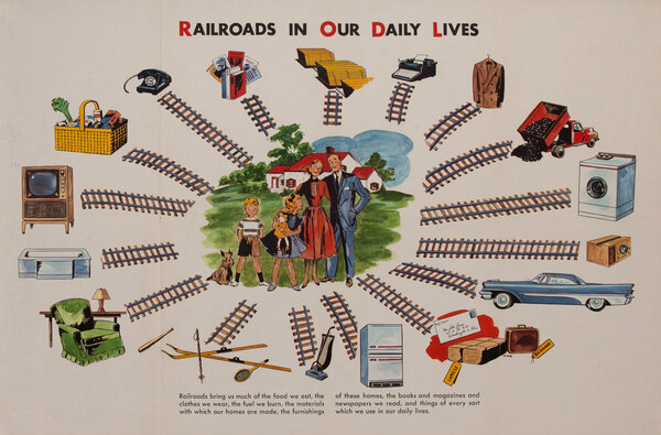 School Educational Original Vintage Poster Railroads in Our Daily Lives