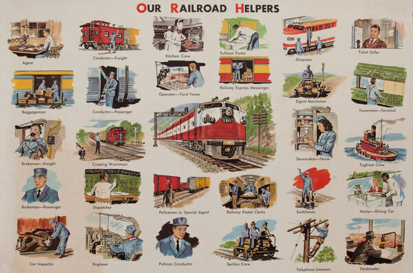 School Educational Original Vintage Poster Our Railroad Helpers