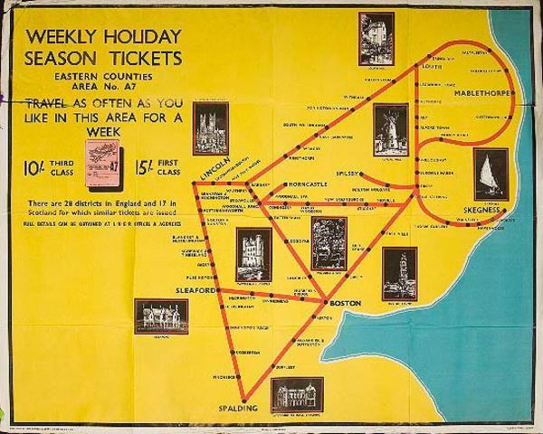LNER Weekend Holidays Season Tickets Original Travel Poster