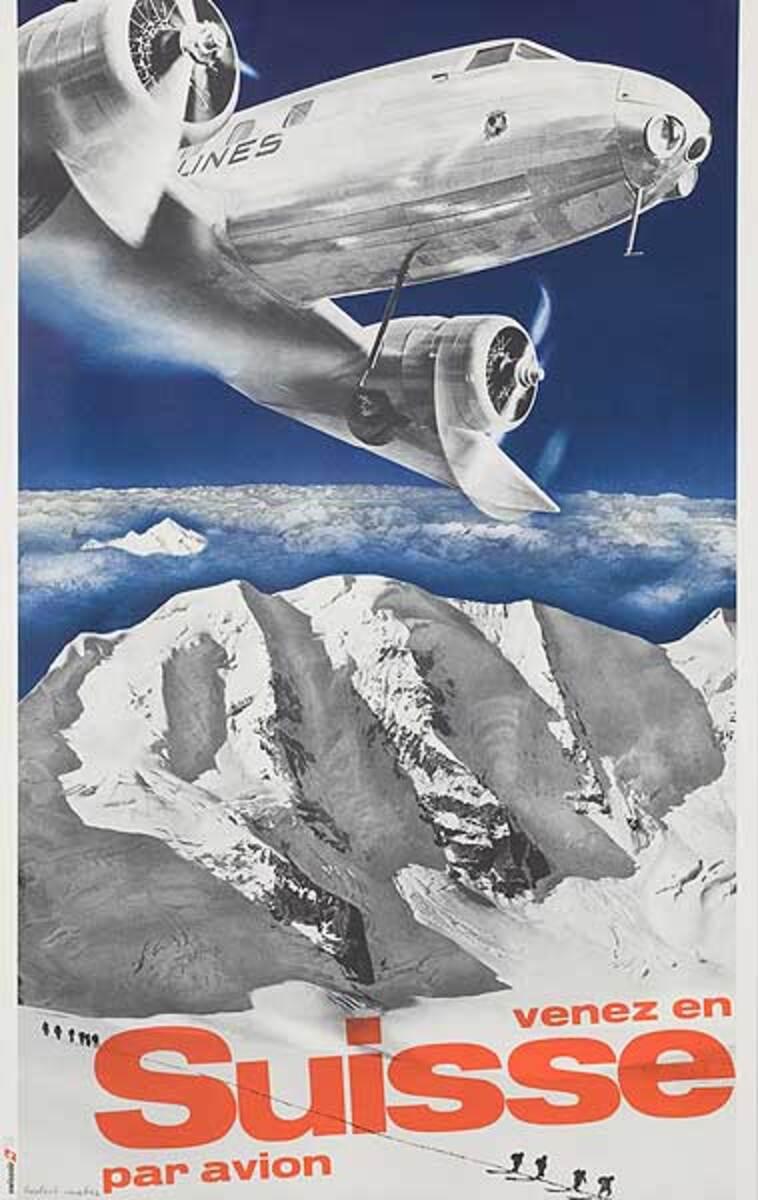 Venez en Suisse Par Avion Swissair 1931 1981 Anniversary Poster