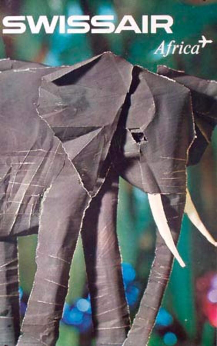 Swissair Original Vintage Travel Poster Africa cut paper Elephant