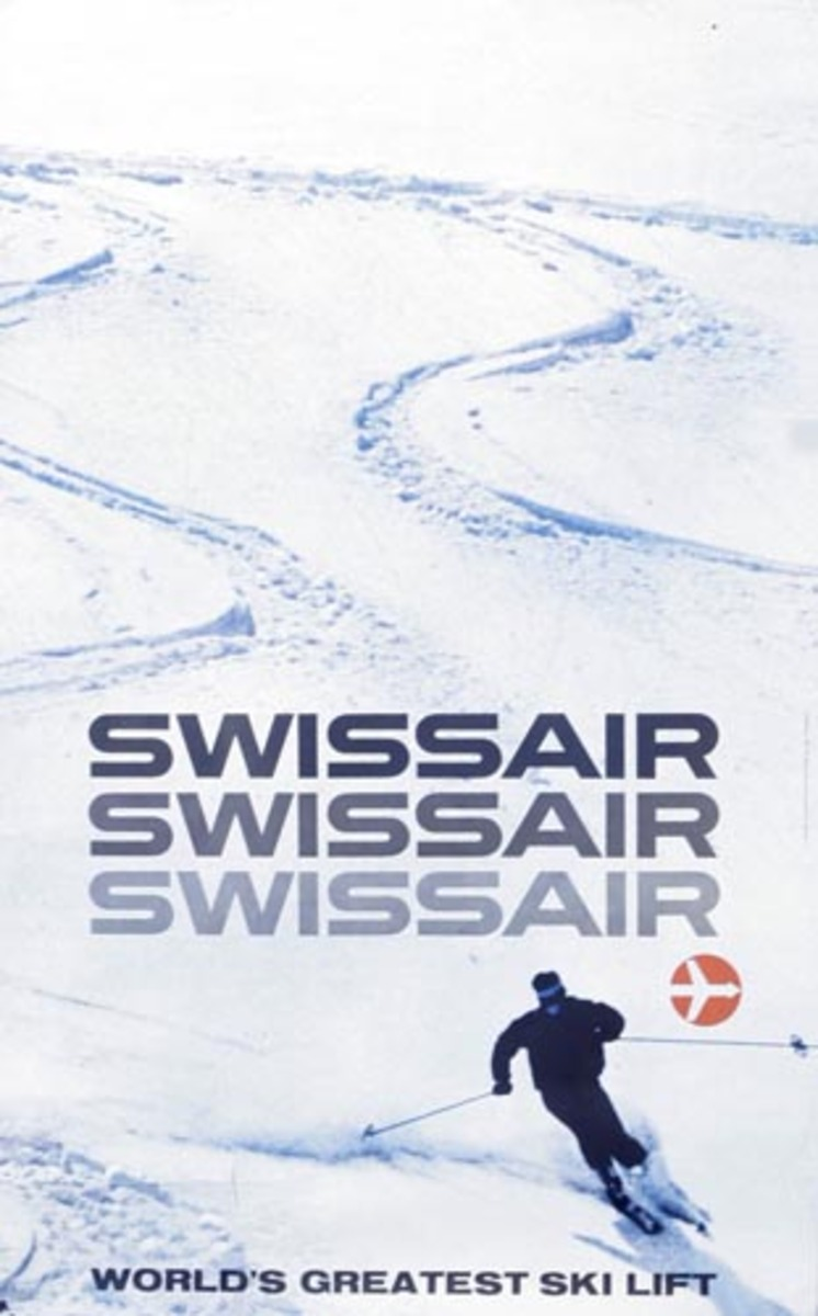 Swiss Air the World's Greatest Ski Lift Original Travel Poster Skiers