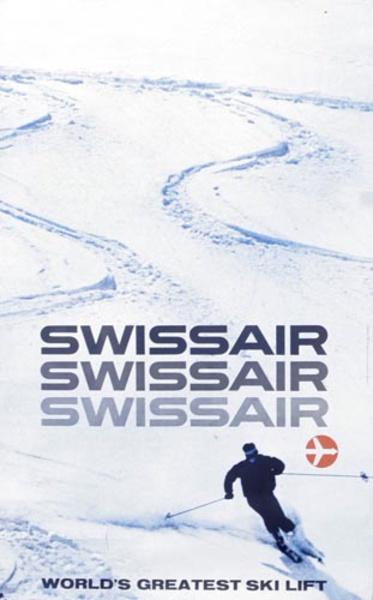 Swiss Air the World's Greatest [[Ski]] Lift Original Travel Poster [[Ski]]ers