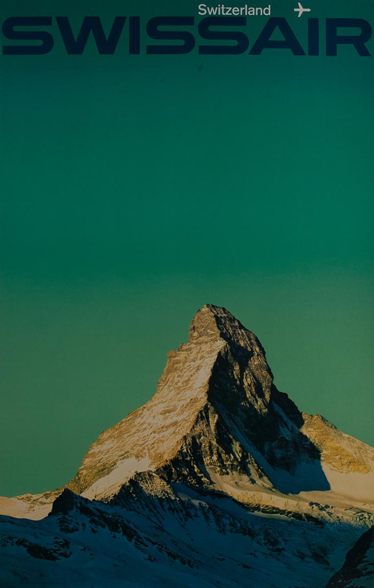 Swissair Original Vintage Travel Poster Mt Cervin Zermatt