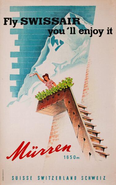 Swissair Original Vintage Travel Poster Murren 1650 m