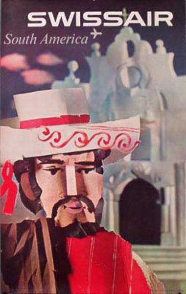 Swissair Original Vintage Travel Poster South America  cut paper gaucho
