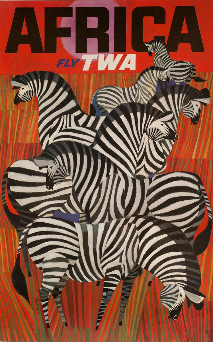 TWA Original Vintage Travel Poster Klein Zebra Africa