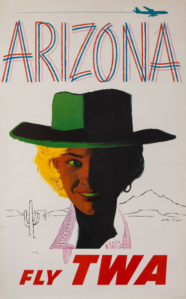 TWA Original Vintage Travel Poster Arizona, jet