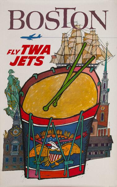 TWA Original Vintage Travel Poster Boston Klein