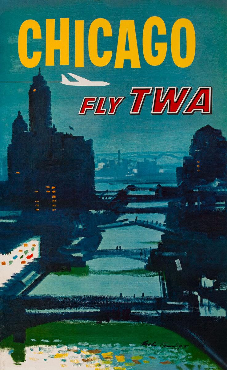 Chicago Bridges Original TWA Travel Poster