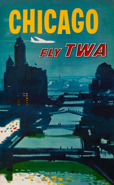 Chicago Bridges Original TWA Travel Poster