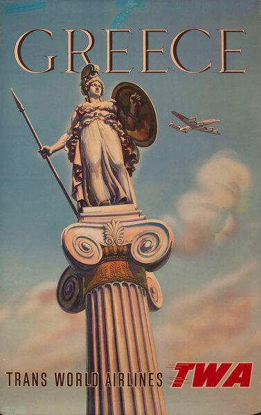 TWA Original Travel Poster Greece - Athena Column