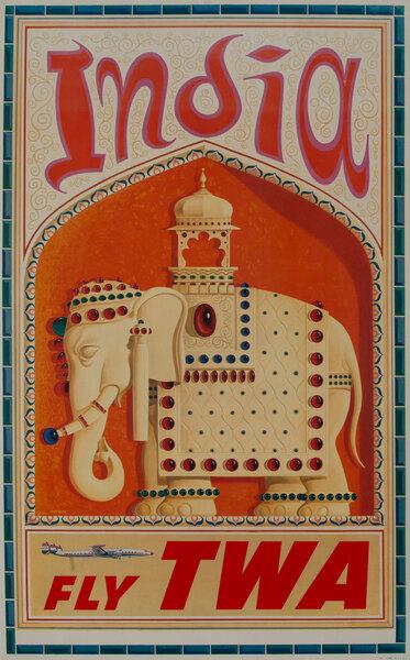 TWA Original Vintage Travel Poster India Elephant, Constellation