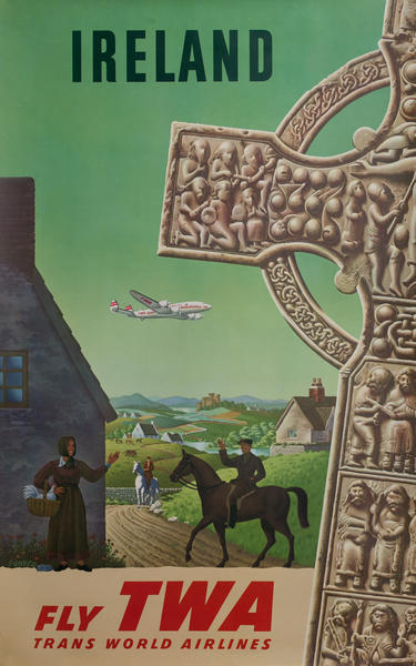 TWA Original Vintage Travel Poster Ireland Ankh