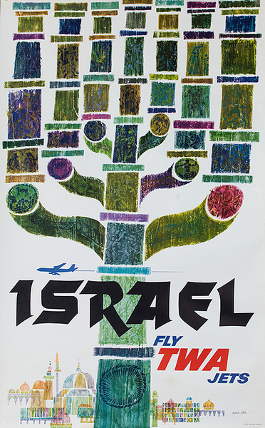 TWA Original Vintage Travel Poster Israel