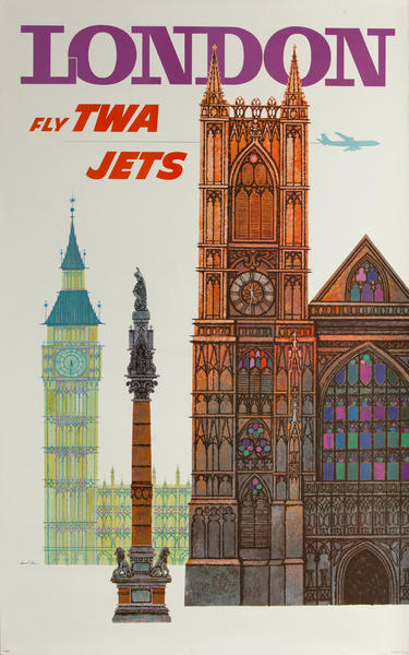 London  Fly TWA Jets Original Vintage Travel Poster