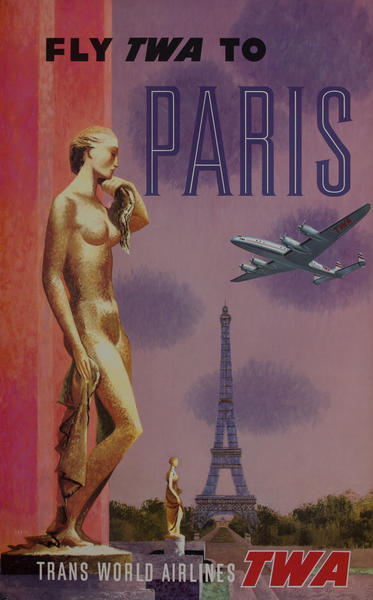 Fly TWA to Paris Travel Poster Constellation