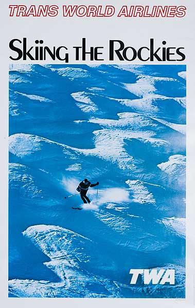 Trans World Arlines Skiing The Rockies Original Travel Poster