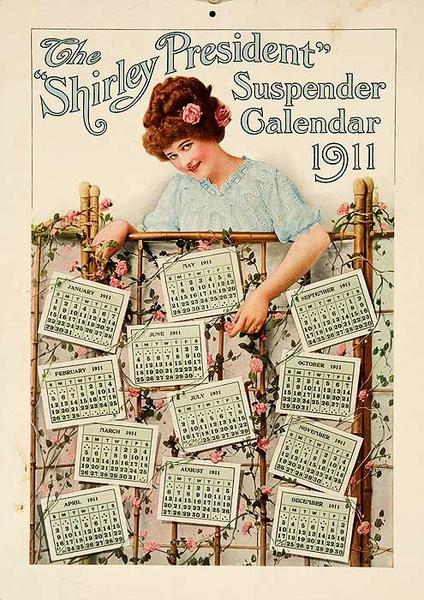 Shirley Suspenders Original American Advertising Poster Calendar