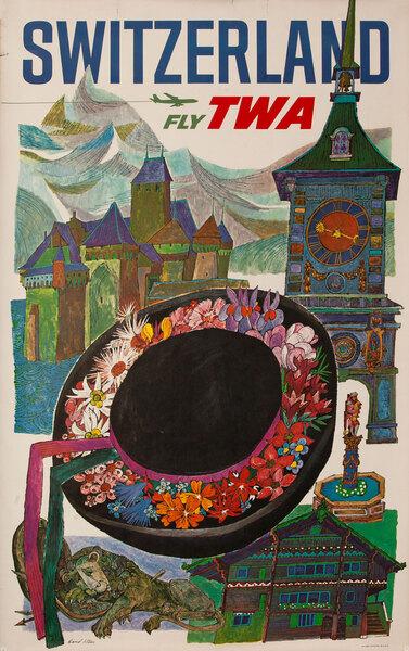 TWA Original Vintage Travel Poster Switzerland