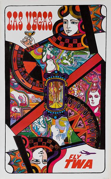 TWA Original Vintage Travel Poster Las Vegas Playing Card Klein