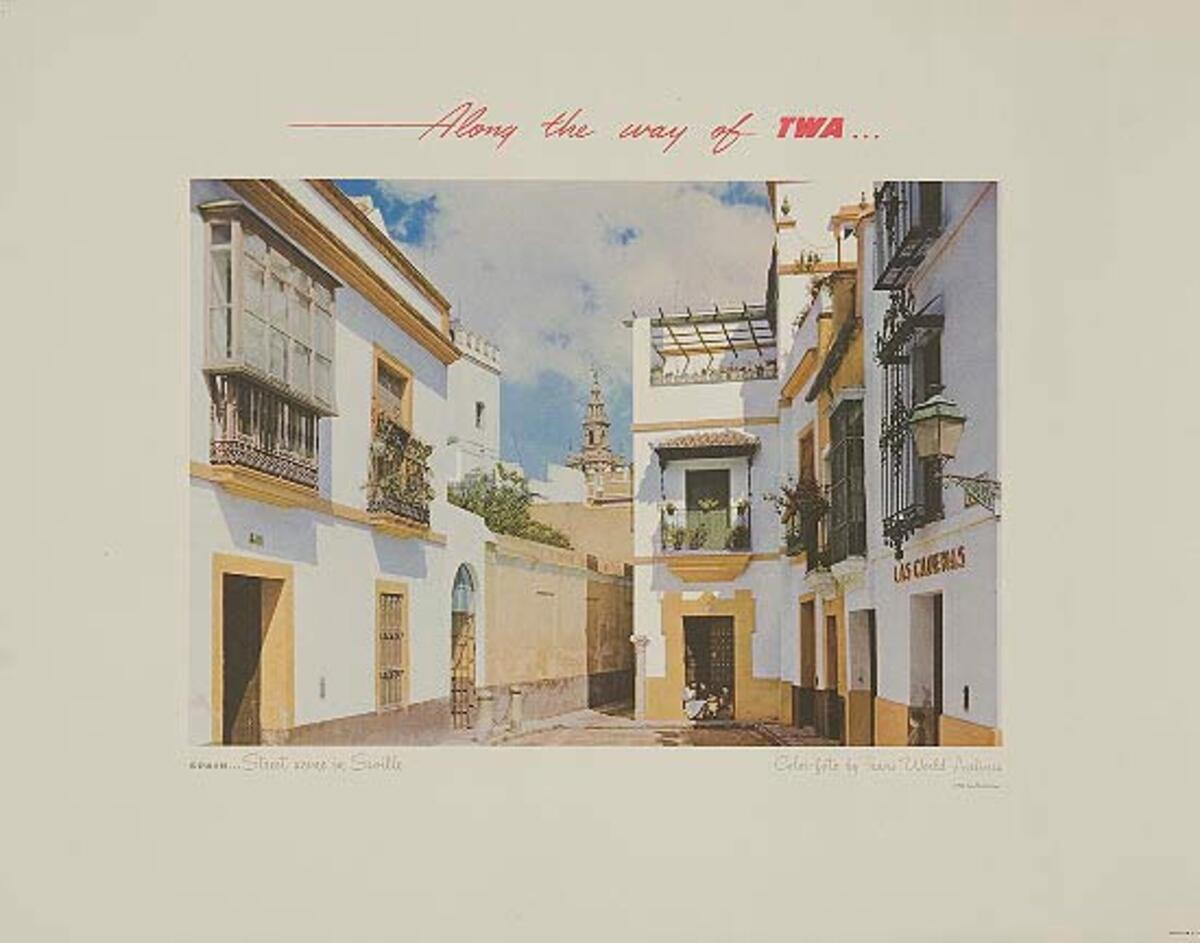 Along The Way of TWA Advertising Poster Print Seville Spain