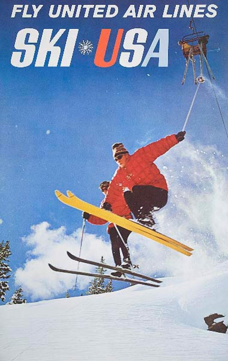 Fly United Airlines Ski USA Original Ski Travel Poster