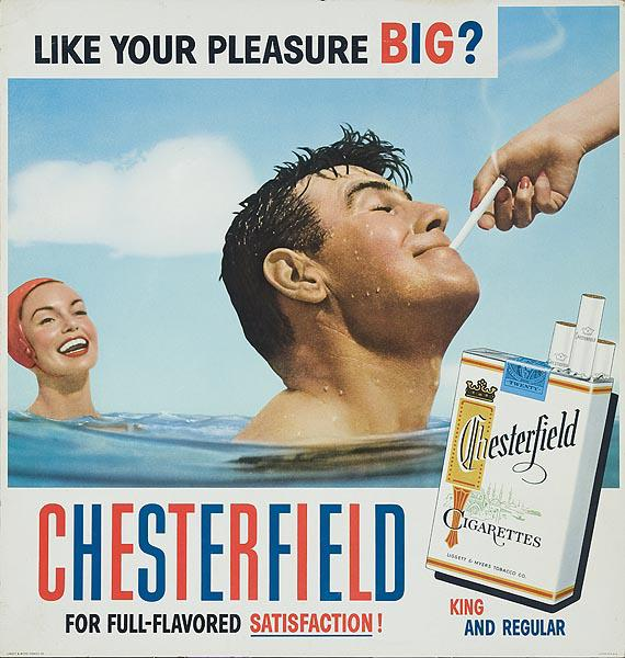 Chesterfield Cigarette Original Advertising Poster, Like Your Pleaseure BIG?