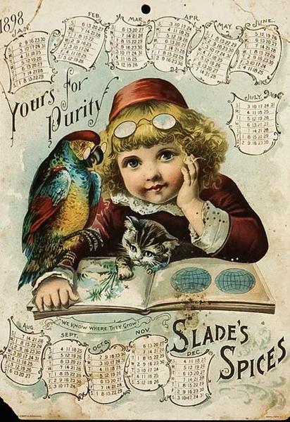 Slades Spices Original American Advertising Poster Calendar