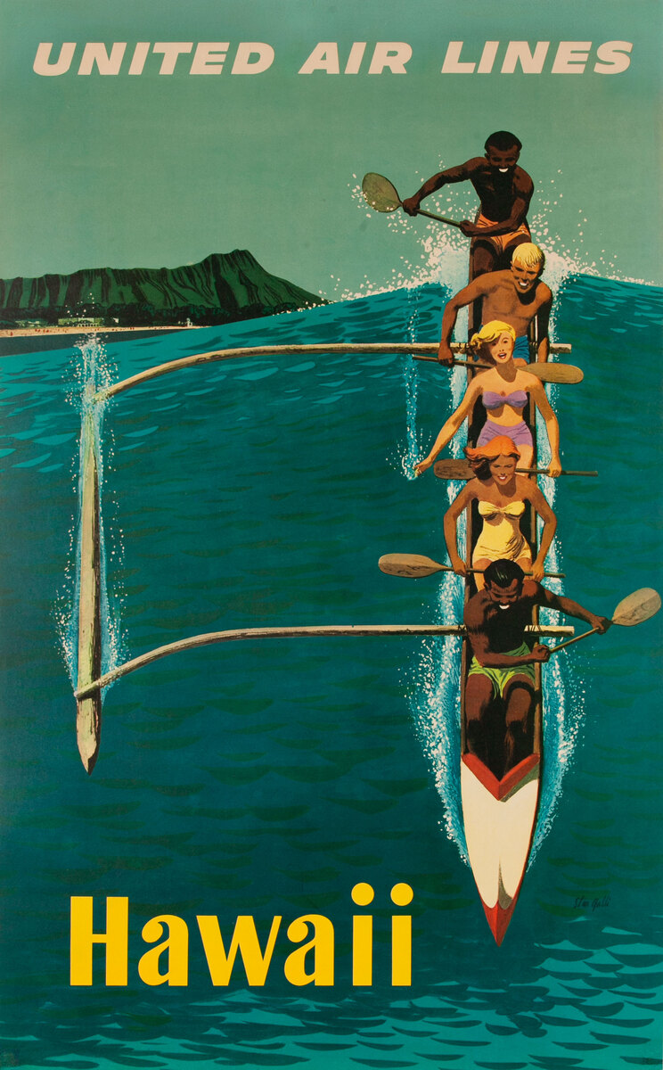 United Airlines Original Vintage Travel Poster Hawaii Galli Outrigger
