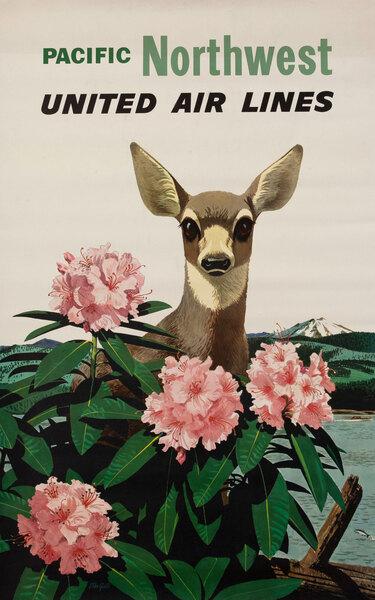 United Air Lines Travel Poster, Pacific Northwest Deer
