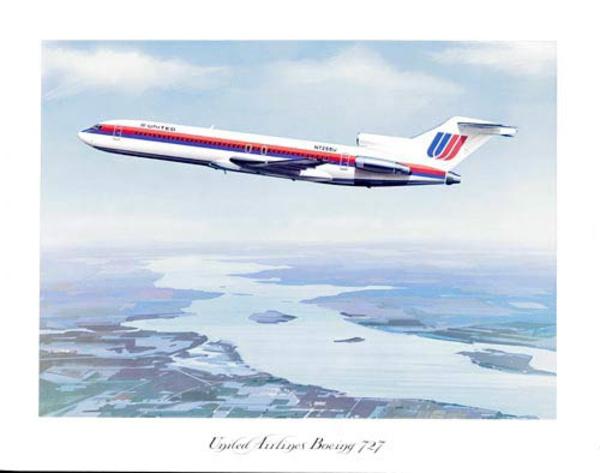 United Airlines Original Travel Poster Boeing 727