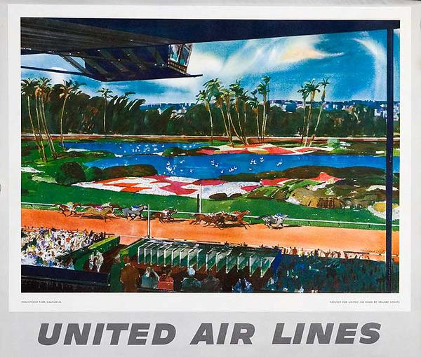 United Airlines Original Small Sized Poster Hollywood Park Racetrack California