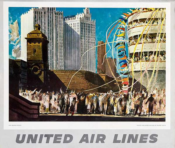 United Airlines Original Small Sized Poster Lake Cruiser Chicago Illinois