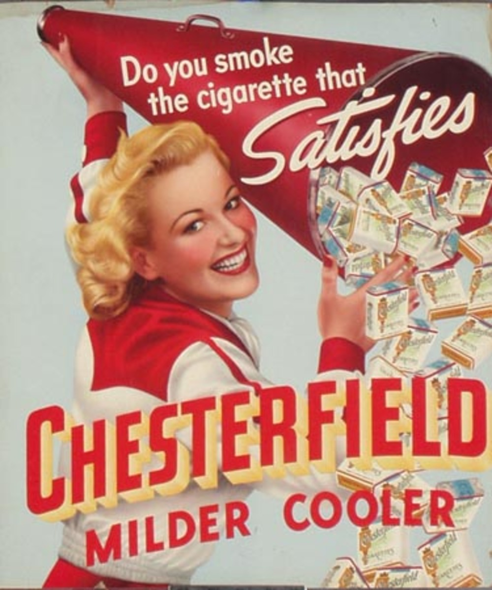 Original Vintage Chesterfield Cigarettes Advertising Poster, Cheerleader